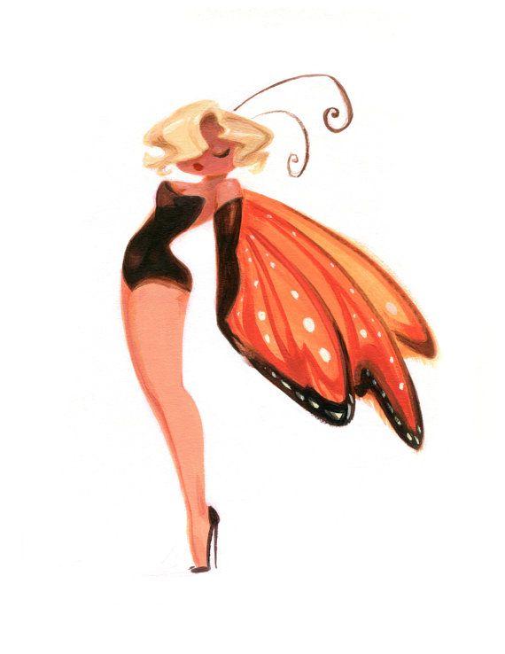 LadyBugs Marilyn Monarch 8.5x11 Art Print by CaseyRobinArt