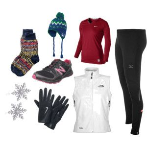 Cold weather running gear idea... thermal tights, long sleeve technical tee, jacket (cold weather cycling jacket works well), gloves, hat, and some wool socks.