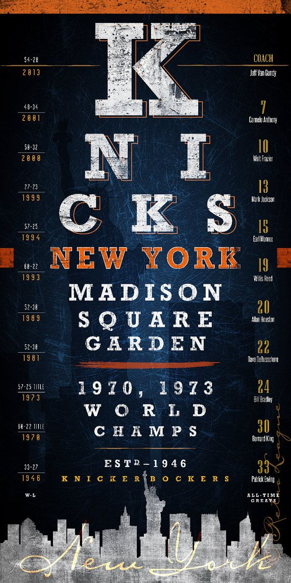 Proudly display your New York pride with this unique New York Knicks eye chart featuring the Madison Square Garden. This original art piece displays