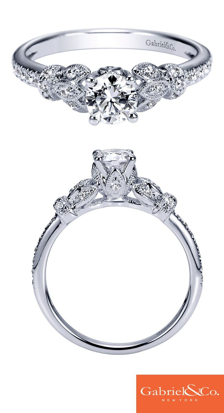You complete me. This gorgeous Gabriel & Co. 14k white gold diamond straight victorian engagement ring is a classic ring that will make your love even more memorable. Discover this gorgeous engagement ring or customize your own on our website.