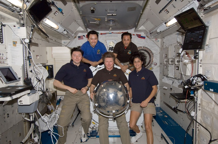 Pictured on the front row are Russian cosmonaut Gennady Padalka (center), Expedition 32 commander; along with Russian cosmonaut Sergei Revin (left) and NASA astronaut Sunita Williams, both flight engineers. Pictured on the back row are Japan Aerospace Exploration Agency astronaut Aki Hoshide (left) and NASA astronaut Joe Acaba, both flight engineers. The satellite will be deployed during the spacewalk scheduled for Aug. 20.