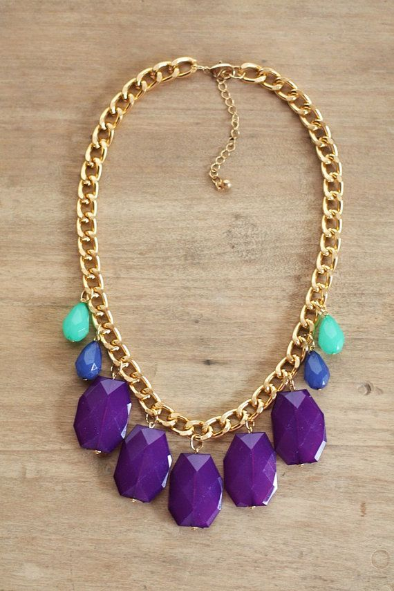 Jewel Tone Statement Necklace on Chunky Gold Chain by ShopNestled, $40.00
