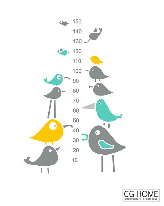 mint scandinavian Birds growth chart WALL DECAL vinyl for children sticker…