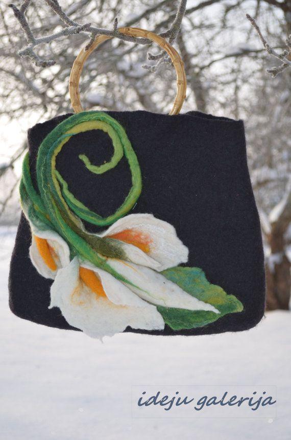 Felted  handbag in handmade  Calla Flower. by Ideagalery on Etsy, $130.00