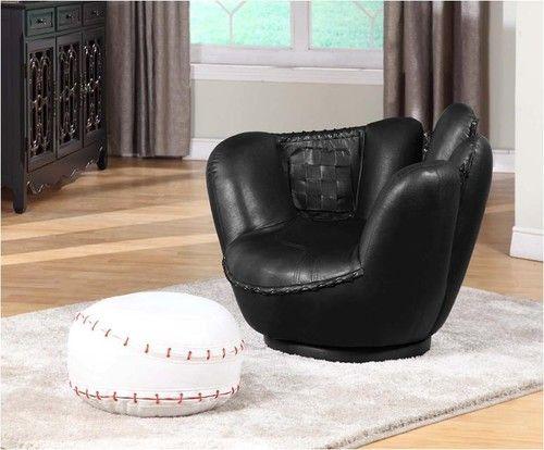 Baseball Swivel Chair w/ Ottoman for a baseball room.