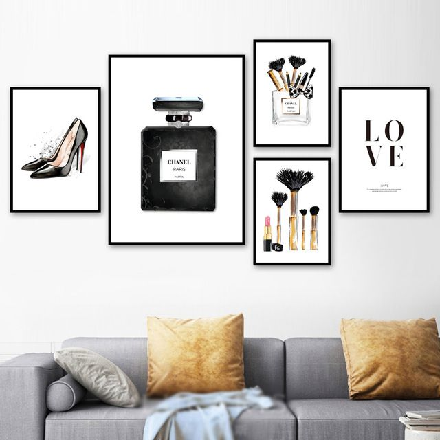 Paris Perfume Fashion Makeup High Heels Wall Art Canvas Painting Nordic Posters And Prints Wall Pict Living Room Pictures Wall Art Canvas Painting Picture Wall