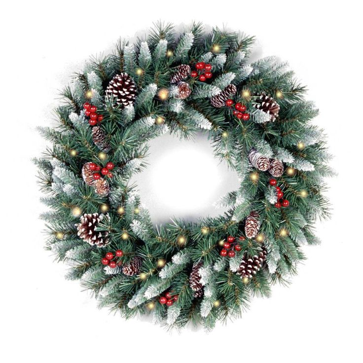 """Features: -Includes spare bulbs and fuses. -White-tipped branches with red berries and frosted pine cones. Dimensions: -Pre-lit 30"""" with 100 clear lights. --"""