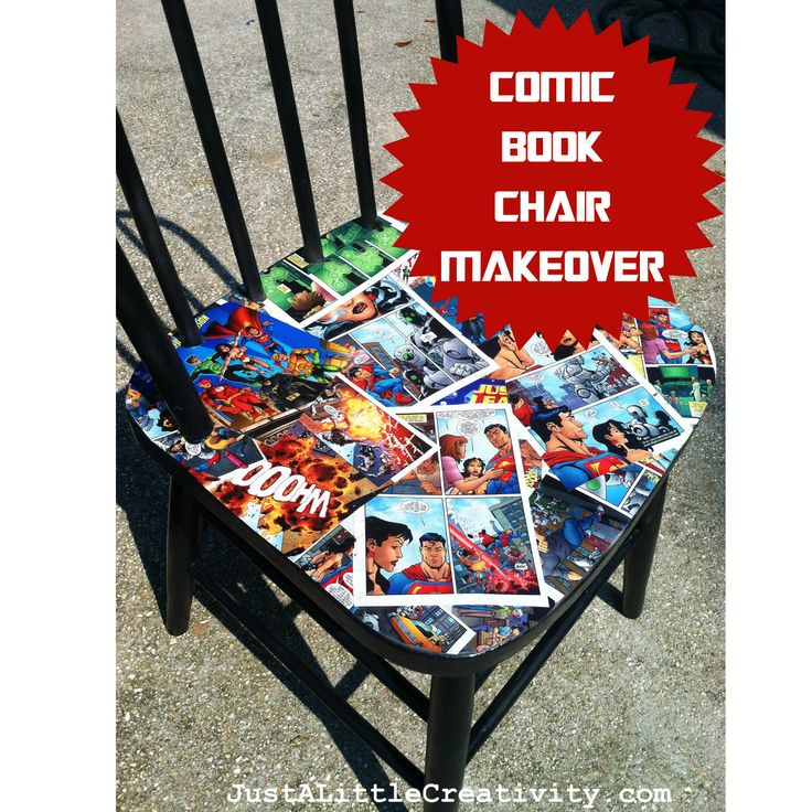 Kapow! Comic Book Chair Makeover- Comics, Spray Paint, Mod Podge {DIY}