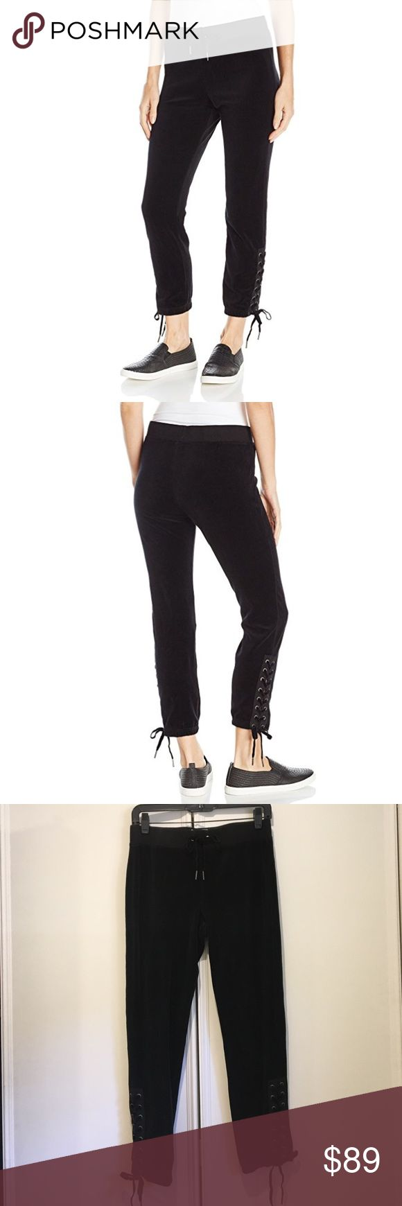 Pam & Gela Black Lace Up Jogger Sweatpants XS/P Cozy joggers with Lace Up detail by Pam & Gela. Fit true to size. Can be dressed up or dressed down with sneakers or heels. Pam & Gela Pants Track Pants & Joggers