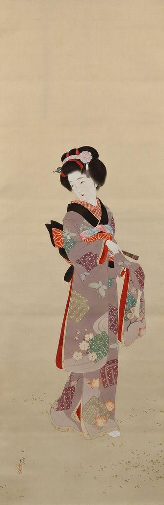 伊藤小坡 -《町娘》 City Girl (Machimusume), by Ito Shoha (1877-1968, Japanese painter )