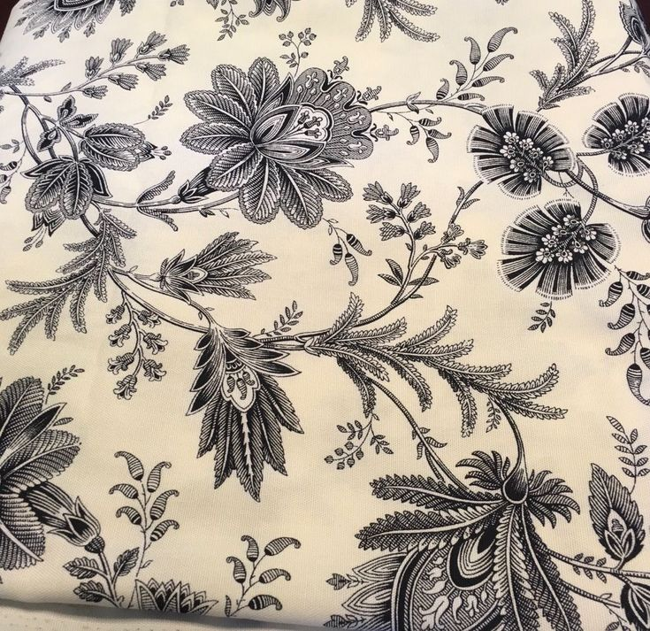 Mill Creek Fabric Black Cream Floral Screen Print Soil & Stain Repellent 7 Yard  #MillCreek