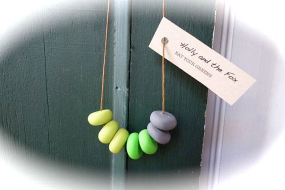 EAT YOUR GREENS Clay Bead Necklace by hollyandthefox on Etsy