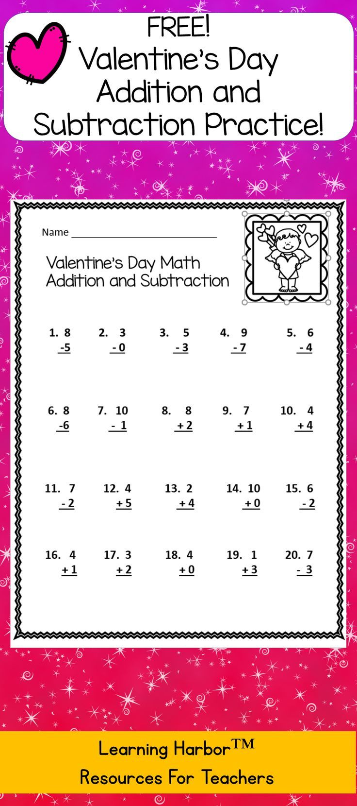This Valentine's Day mixed addition and subtraction resource is a Just in Time One Page resource. Great for bell ringers, morning work, sub tub or anytime you need a quick activity.