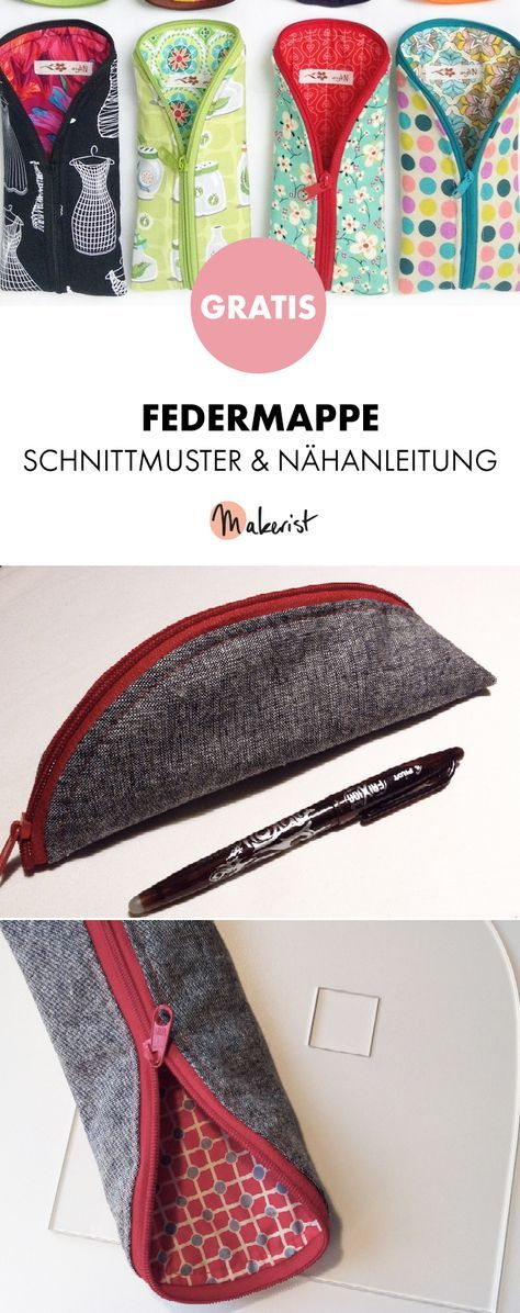 Gratis Anleitung: Praktische Federmappe selber nähen - Schnittmuster und Nähanleitung via Makerist.de
