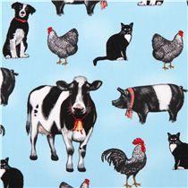 Tissu Everyday Favorites par Robert Kaufman bleu avec des animaux de la ferme