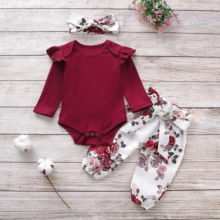 Babys Long Sleeve Romper,Red-Flowers Jumpsuit Bodysuit Clothes