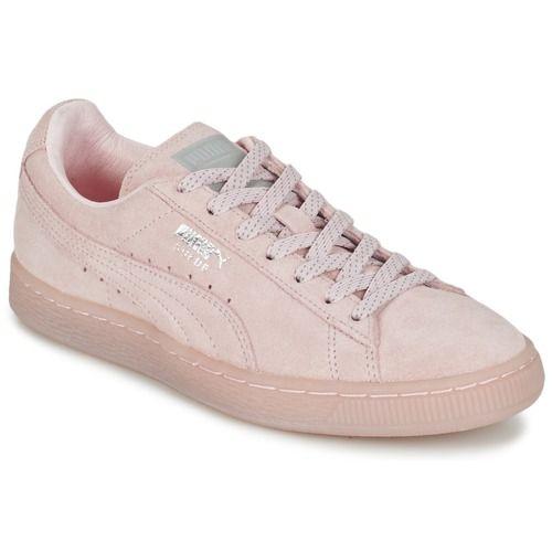Puma SUEDE CLASSIC MONO REF ICED Rose / Argenté - Livraison Gratuite avec Spartoo.com ! - Chaussures Baskets basses Femme 84,99 €