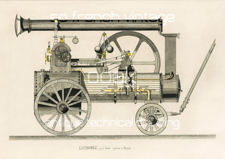 1860 Locomotive, Dessin Industriel, Original, Technique du Lavis, French vintage signé L Bréval Ingénieur, Cadeau pour passionné de trains de la boutique sofrenchvintage sur Etsy
