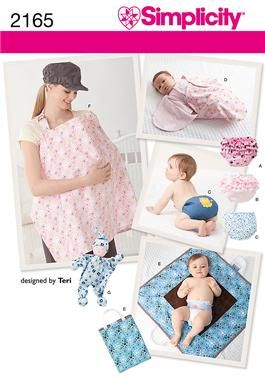 2165 Baby Accessories Sewing pattern for baby diaper cover in three sizes with trim variations, bunting, nursing cover, changing mat and doll.