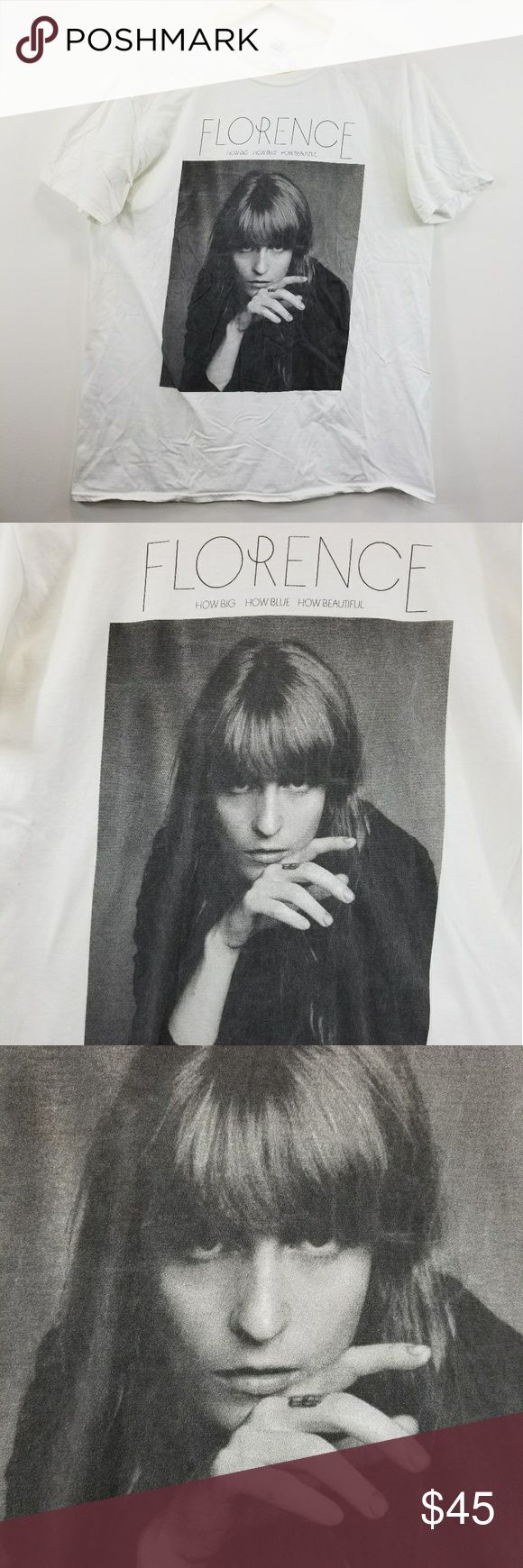 Florence + The Machine Concert T Shirt 2015 2016 Florence + The Machine T Shirt  How Big How Blue How Beautiful Concert Tour 2015 - 2016  Discoloration on back right side. See photos. Gildan Tops Tees - Short Sleeve