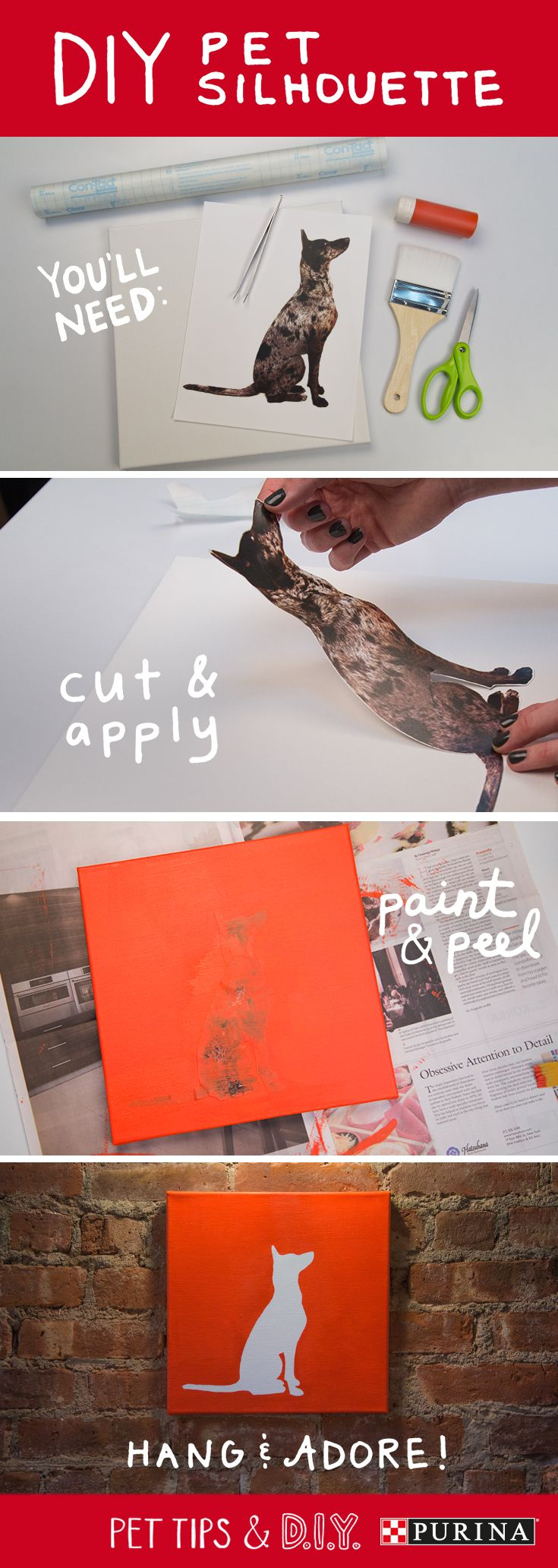 Here's a how-to guide for a DIY art project inspired by your pet. All you need is a canvas, printable label paper, paint and some imagination! #PetLifeHack