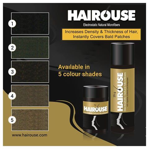 Instant Hair Thickening Products In Mumbai : HAIROUSE a good choice to cover bald patches and thinning of hair. Now HAIROUSE is available in 5 shades.  For more details visit us @ http://hairouse.com/shades-package-size/