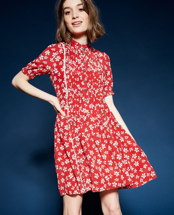 Red 60s Flowers dress - The kooples