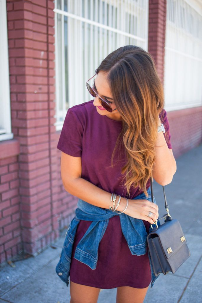 the perfect Monday outfit: a simple, suede t-shirt dress with a denim jacket.