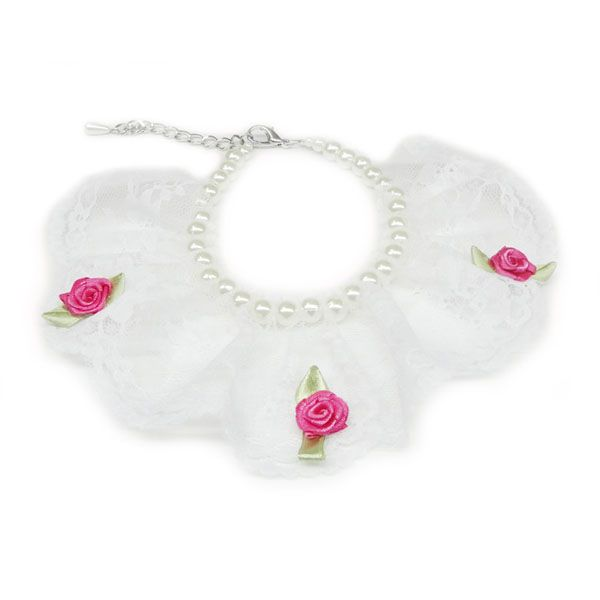 Lace With Little Rose Flower Pattern Pearl Pet Necklace