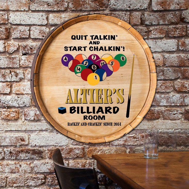 Billiard's Whiskey Wine Barrel Sign