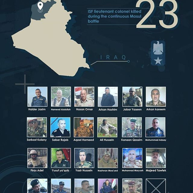 #Infographic 23 ISF lieutenant colonel killed during the continuous #Mosul battle  #iraq #isis #notinmyname #shia #kurds #islam #muslim