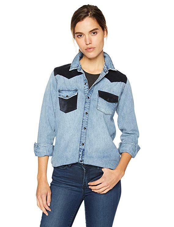 e3d29aa8e9c Lucky Brand Women s Remade Denim Button UP Western Shirt