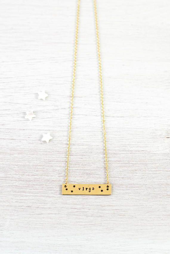 Virgo necklace - Gold Virgo zodiac necklace with stars - Virgo star sign necklace - Virgo horoscope necklace - Gold Virgo bar necklace