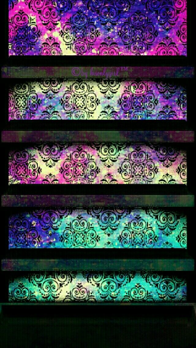 Damask galaxy shelves iPhone & Android wallpaper I created for the app CocoPPa!