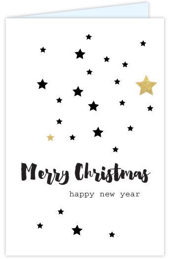 Moderne zakelijke kerstkaart met zwart en goud gekleurde sterren op een witte ondergrond. Teksten staan in het hippe handlettering. De kaart is geheel naar eigen wens aan te passen. Enveloppen zijn los te bestellen.