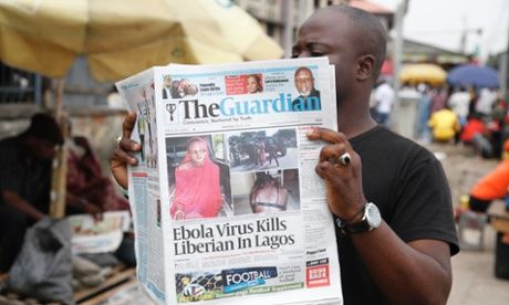 Nigerian newspapers report the death of a Liberian in Lagos from ebola last week.