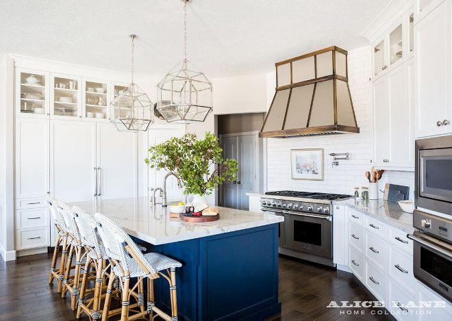 Best White Kitchen With Navy Blue Island Reno Ideas White 640 x 480