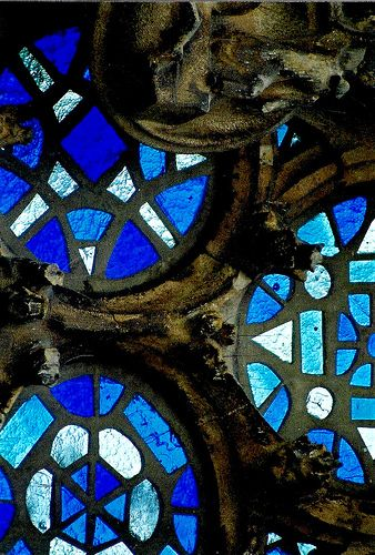 Gaudi Cathedral Window I feel like this could be done with certain mason jar lids' wax paper and markers or even melted beads