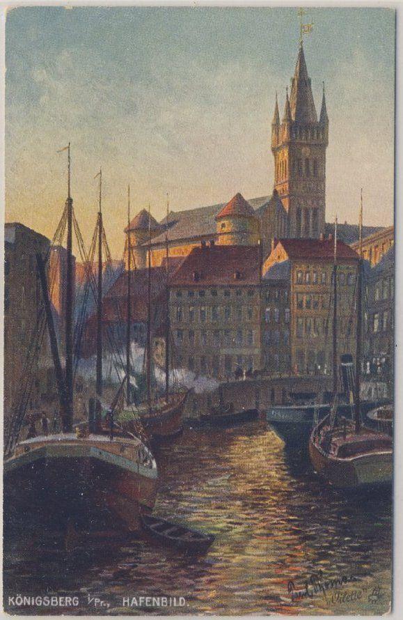 DR - Königsberg, Hafenbild - farb. Künstlerkarte, ungelaufen ca. 1920