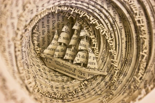 Book Sculpture: Drowning from Obsession by Thomas Wightman, via Behance