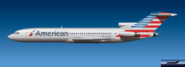 Boeing 727, imagined in the new livery of American Airlines