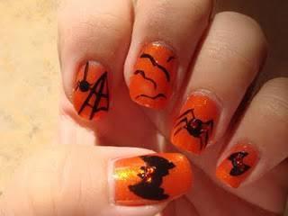 Unghie Halloween con pipistrelli
