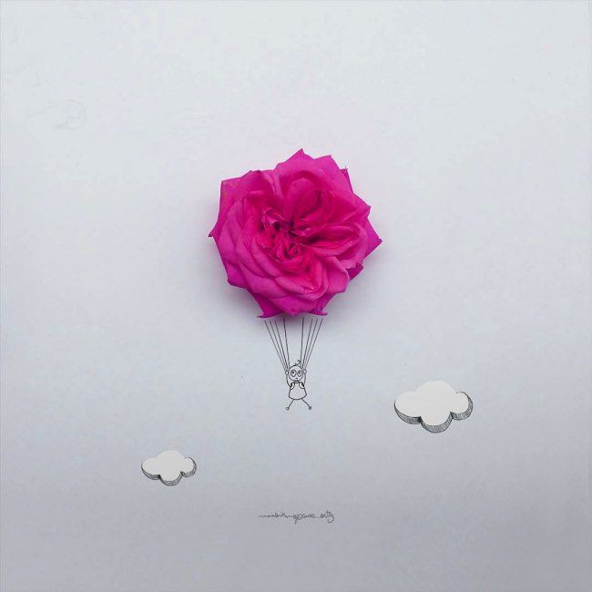 With Real Flowers, Jesuso Ortiz Adds a Touch of Poetry to his Drawings. l #flowerart #drawings #illustration