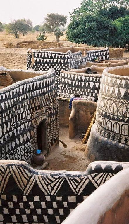 Painted dwellings in a  Gurunsi village, N. Ghana, Africa