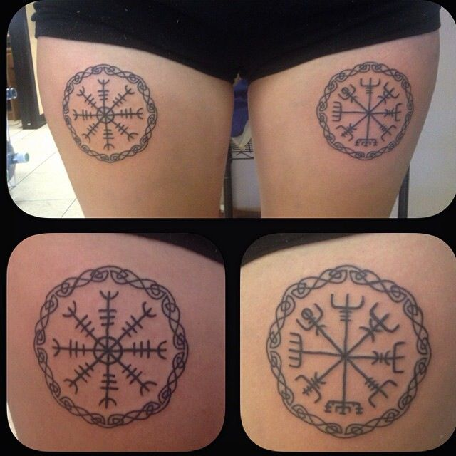 Helm of awe and vegvisir runes / symbols. Right leg is the Helm of awe for protection. Left leg is Vegvisir for guidance through the storm, otherwise known as the Viking compass.