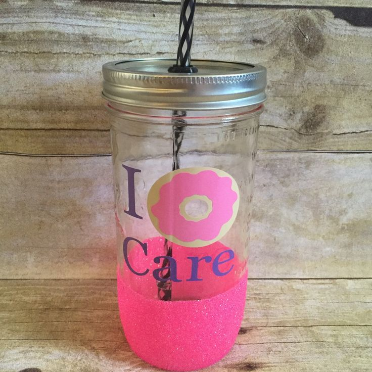 """This hot pink glitter dipped tumbler is perfect for those with a """"donut"""" care attitude!!"""