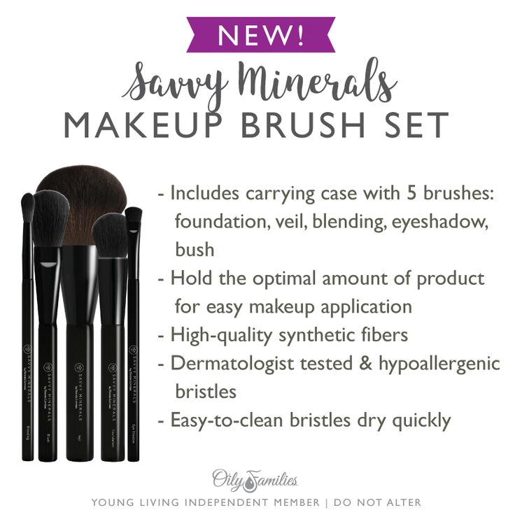 Young Living Savvy Minerals Makeup Brush Set: Carrying case with 5 brushes: foundation, veil, blending, eyeshadow, blush. High-quality synthetic fibers. Dermatologist tested and hypoallergenic.