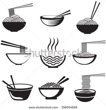 Set of noodles or spaghetti in different dishes. Black on white. Vector. Noodle logo. Noodle image. Noodle set. Noodle shape