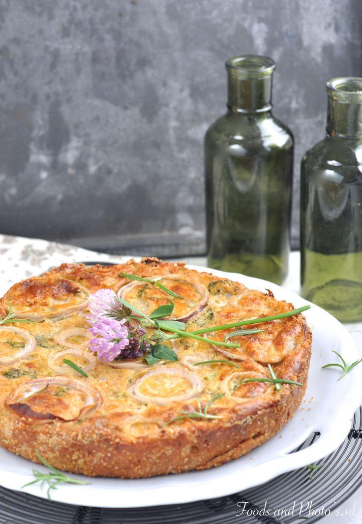 Ottolenghi's bloemkooltaart met broccoli (bloem vervangen door amandelmeel)