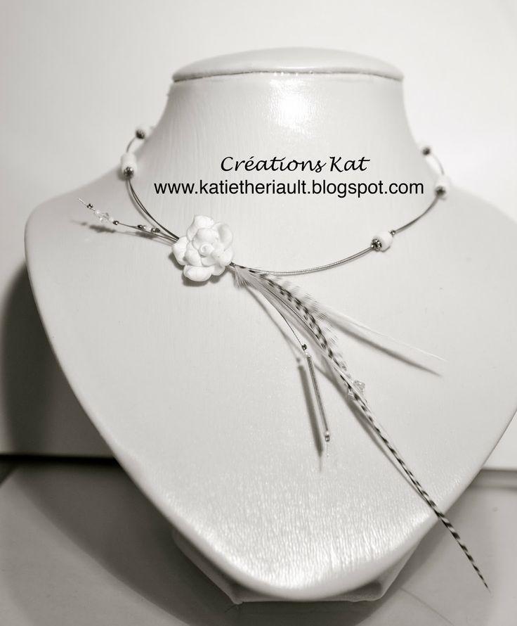 Collier plumes, Fleur fimo blanche, cristaux, mariage, Créations KAT, www.katietheriault.blogspot.com